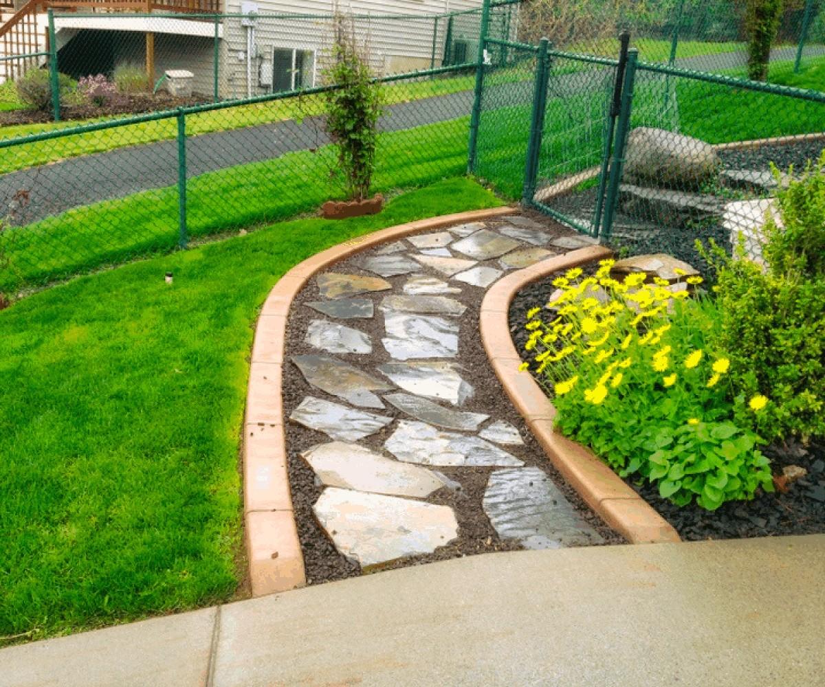 Flagstone Walkway and Curbing