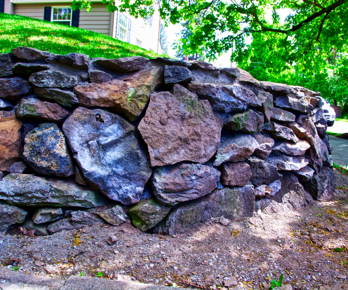 hand stacked stone wall