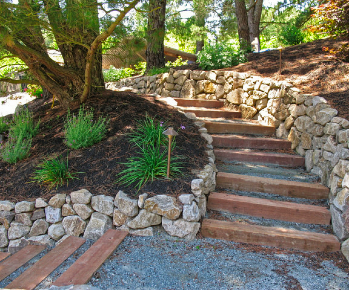 dry stacked stone wall and staircase
